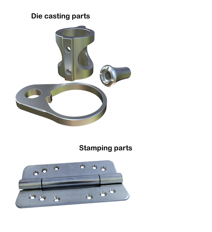All kinds of hardware are produced by by die casting, stamping, lathing, CNC milling and MIM processes.